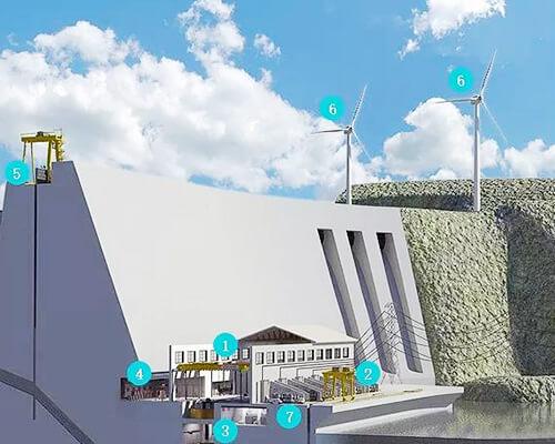 Hydroelectric power plant crane