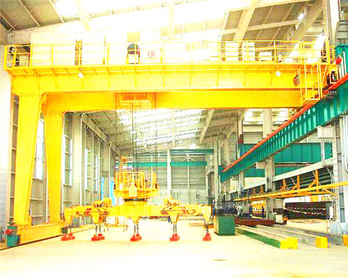 BMG Semi Gantry Double Girder Overhead Crane with Electromagnetic Rotating Hanging Beam