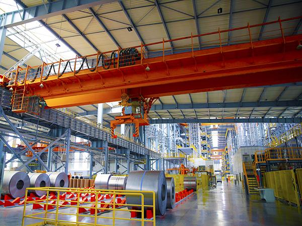 Overhead Crane in Steel Plant Warehouse