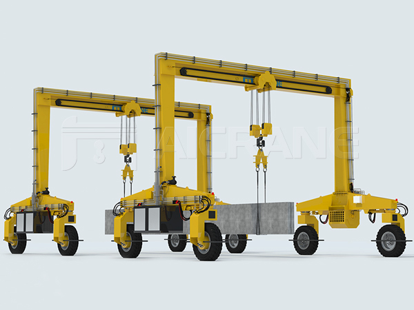 Two Rubber Tyred Gantry Cranes for Lifting Beams